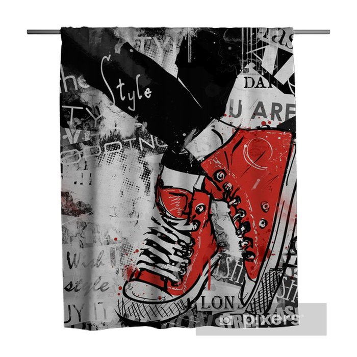 Pair of sneakers. Shower Curtain - Graphic Resources