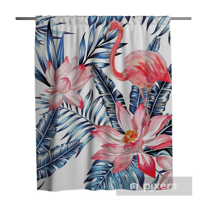 pink flamingo and blue palm leaves pattern Shower Curtain - Animals