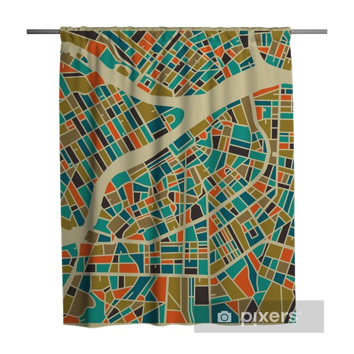 Saint Petersburg vector map. Colourful vintage design base for travel card, advertising, gift or poster. Shower Curtain - Travel