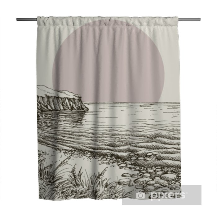 Sea, beach and cliff sketch Shower Curtain - Landscapes