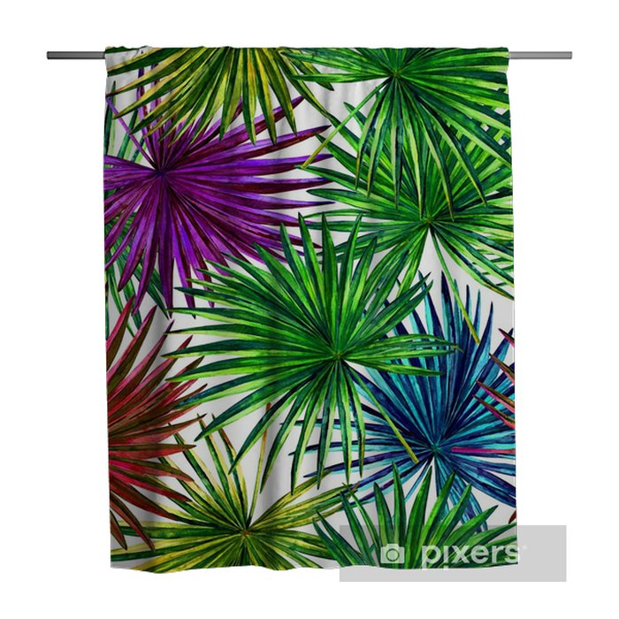 Seamless floral pattern with beautiful watercolor fan palm leaves. Colorful jungle foliage on white background. Textile design. Shower Curtain - Graphic Resources