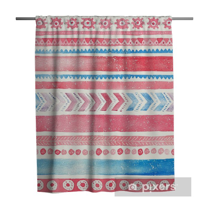 Seamless hand-drawn Watercolor Ethnic Tribal Ornamental Pattern. Shower Curtain - Graphic Resources