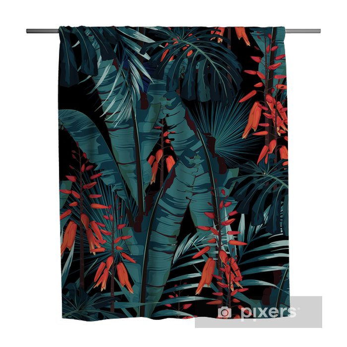 Seamless pattern floral watercolor style design: succulent in bloom with orange flowers and palm and bananas leaves. Modern bright summer print design. Black background print. Shower Curtain - Plants and Flowers