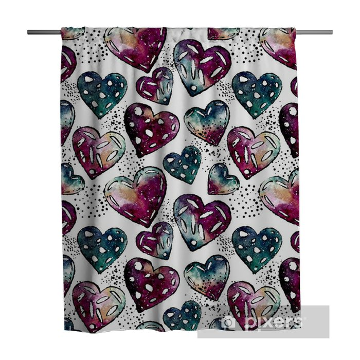 Seamless Pattern of Black Dots and Watercolor Hearts Shower Curtain - Graphic Resources