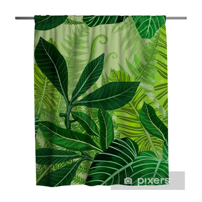 Seamless pattern with tropical palm leaves Shower Curtain - Plants and Flowers