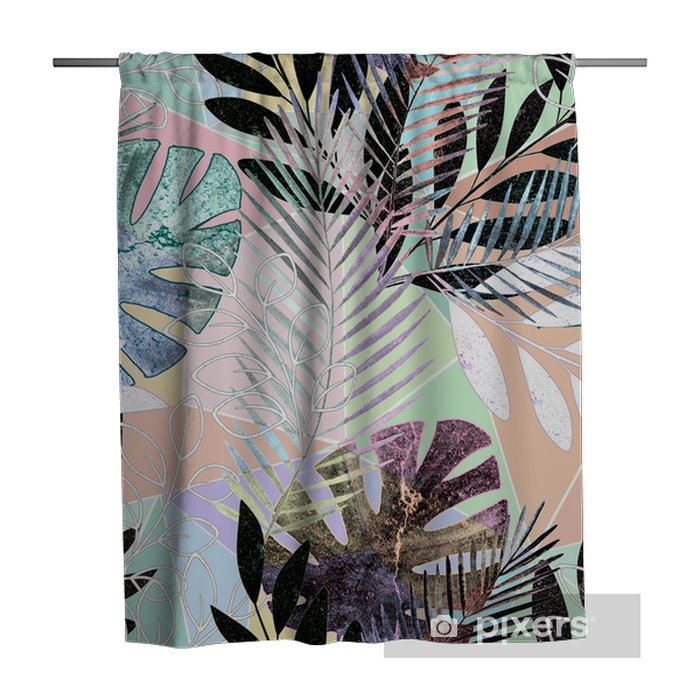 Seamless tropical pattern.Palm leaves on a colorful background. Shower Curtain - Graphic Resources