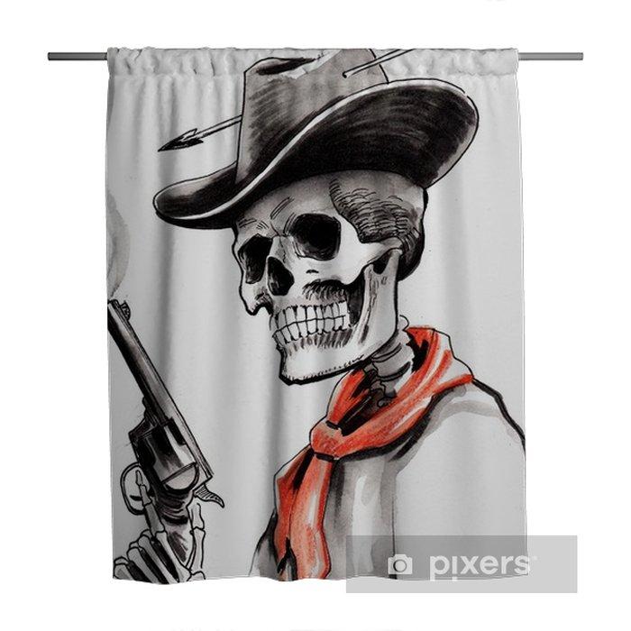 Skeleton with a smoking gun Shower Curtain - People