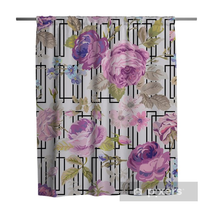 Spring Flowers Geometry Background - Seamless Floral Shabby Chic Shower Curtain - Plants and Flowers