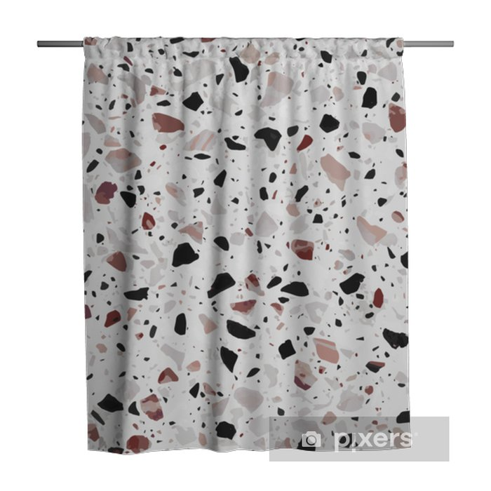 Terrazzo flooring vector seamless pattern in light grey colors with red accents. Classic italian type of floor in Venetian style composed of natural stone, granite, quartz, marble, glass and concrete Shower Curtain - Graphic Resources