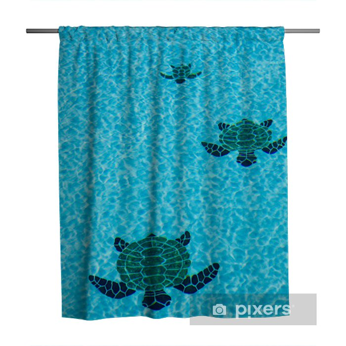 Three tiled turtles on bottom of swimming pool Shower Curtain