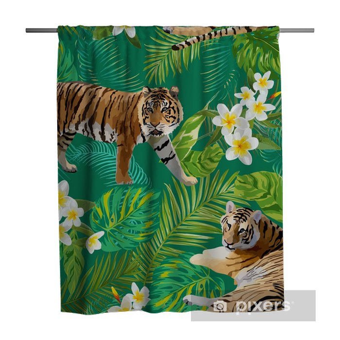 Tigers in Tropical Flowers and Palm Leaves Background, Seamless Pattern in vector Shower Curtain - Animals