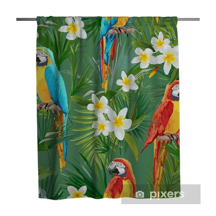 Tropical Seamless Vector Parrot and Floral Summer Pattern. For Wallpapers, Backgrounds, Textures, Textile, Cards. Shower Curtain - Animals