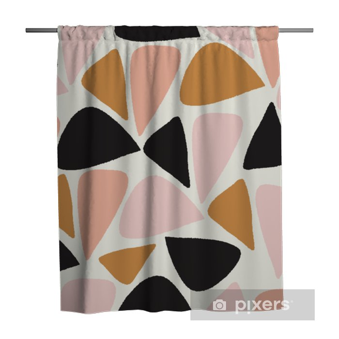 vector abstract geometric seamless repeat pattern in pink, gold, black and white Shower Curtain - Graphic Resources