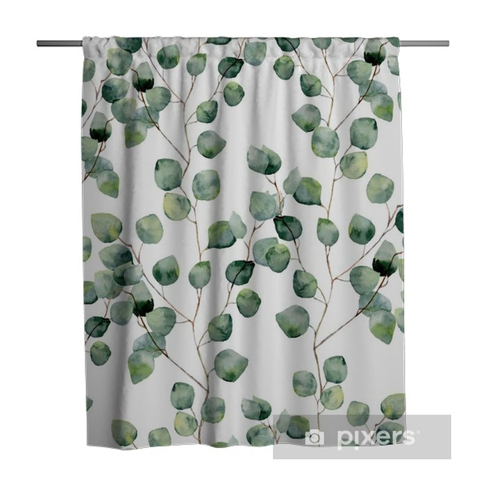 Watercolor green floral seamless pattern with eucalyptus round leaves. Hand painted pattern with branches and leaves of silver dollar eucalyptus isolated on white background. For design or background Shower Curtain - Plants and Flowers