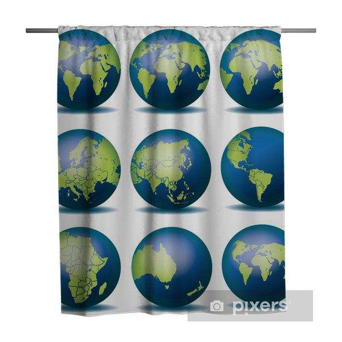 Globus Karte.Weltkugel Weltkarte Landkarte Globus Karte 4 Shower Curtain