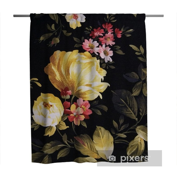yellow peony and pink daisy design on black fabric Shower Curtain - Graphic Resources