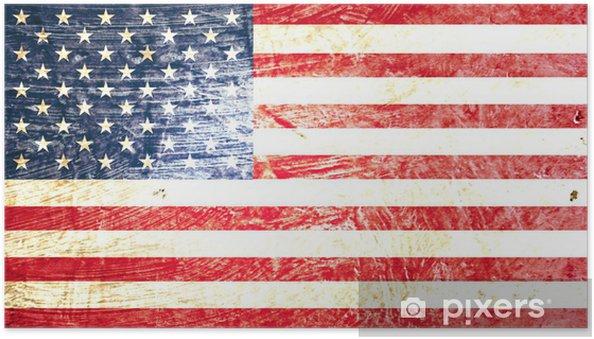 Självhäftande Poster Amerikanska flaggan - Teman