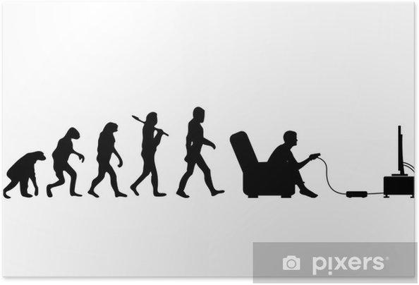 Självhäftande Poster Evolution Gamer - Väggdekor