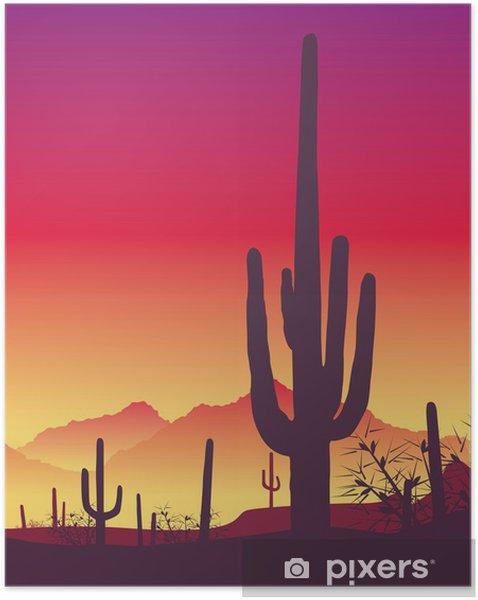 Självhäftande Poster Kaktus - soluppgång - Öknar