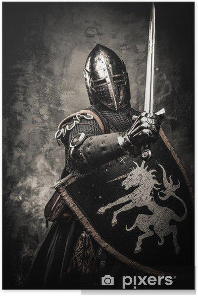 Självhäftande Poster Medeltida riddare mot stenmur - Riddare