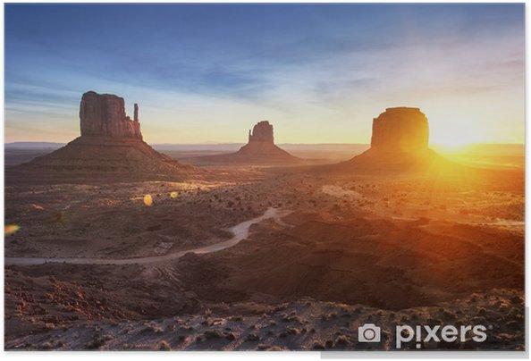 Självhäftande Poster Monument Valley på soluppgången - Bakgrunder