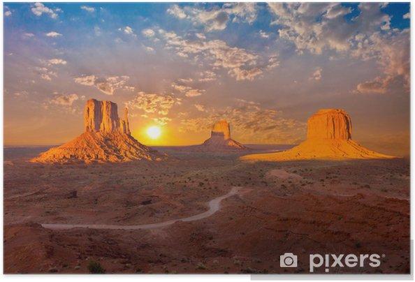 Självhäftande Poster Monument valley solnedgång moln - iStaging
