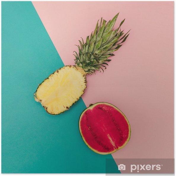 Självhäftande Poster Tropical Mix. Ananas och vattenmelon. minimal stil - Livsstil
