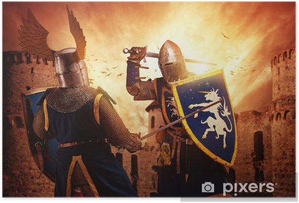 Självhäftande Poster Två riddare som slåss agaist medeltida slott. - Riddare