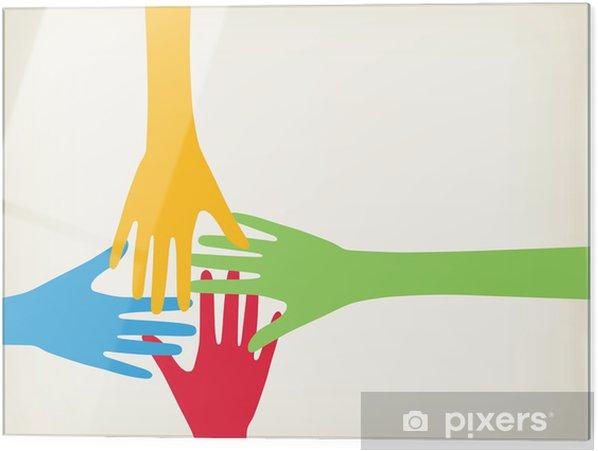 Skleněný obraz Ruce spojovací - Prvky podnikání