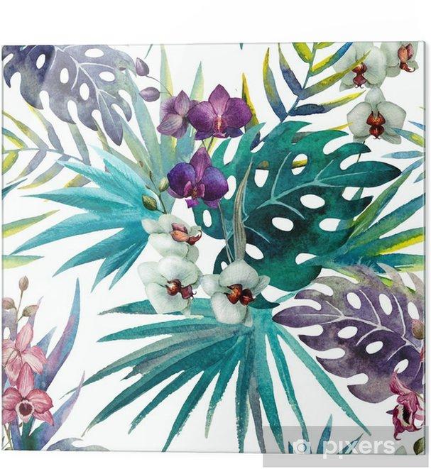 Skleněný obraz Vzor Orchid Hibiscus listy akvarel tropy - iStaging