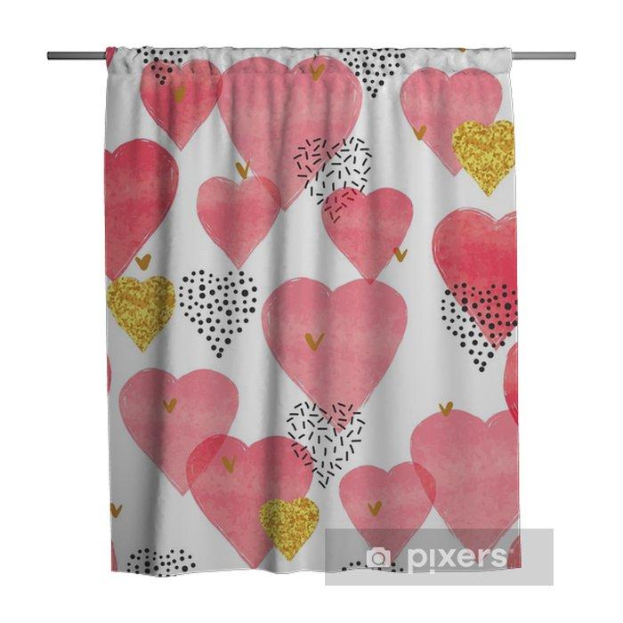 Sprchový závěs Červená akvarel srdce vzor. valentinky den bezproblémové pozadí. - Koníčky a volný čas