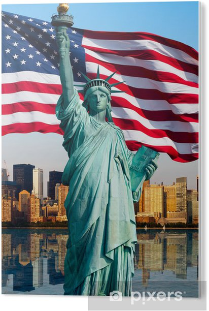 Stampa in PVC Skyline di New York, la statua de la liberté - Temi