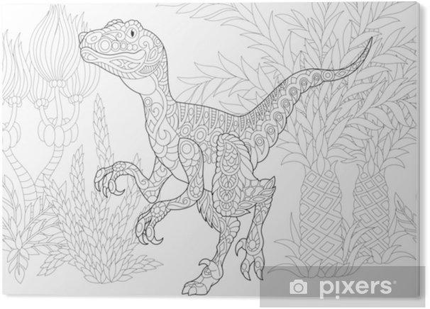 Stampa Su Plexiglass Dinosauro Stilizzato Del Velociraptor Del