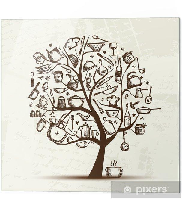 Stampa su vetro Albero arte con utensili da cucina, disegno schizzo per il  vostro disegno