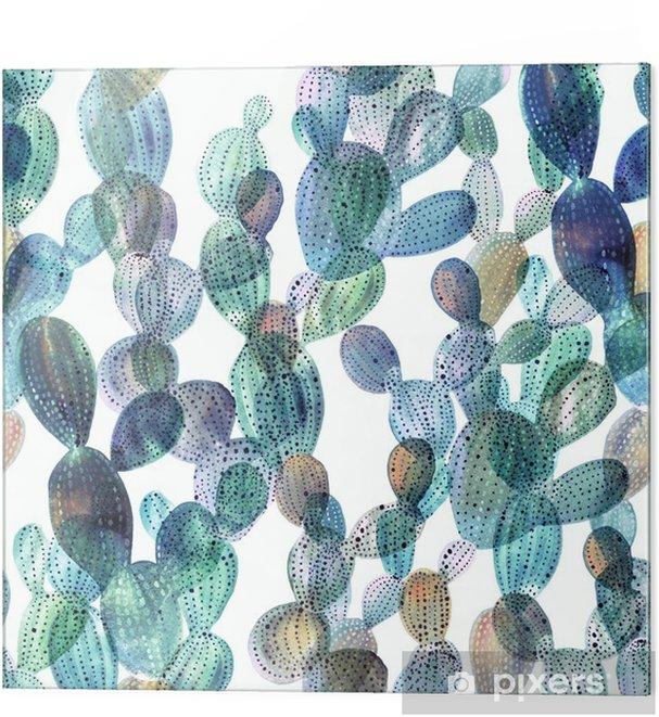 Stampa su vetro Modello Cactus in stile acquerello