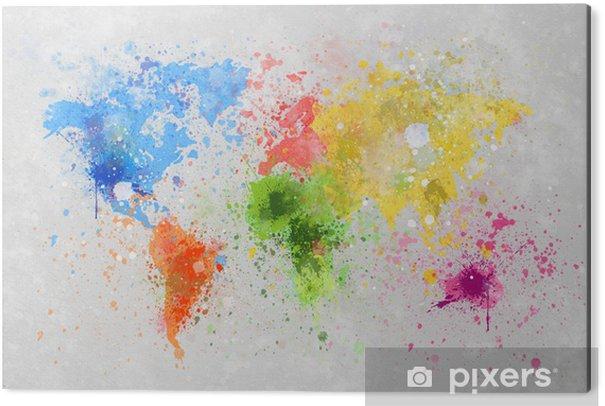 Tableau Alu-Dibond Carte du monde peinture -
