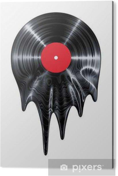 Tableau Alu-Dibond Melting disque vinyle / 3D render du disque vinyle fusion - Passe-temps et loisirs