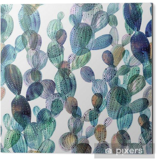 Tableau Alu-Dibond Motif de Cactus dans le style d'aquarelle - Plantes et fleurs
