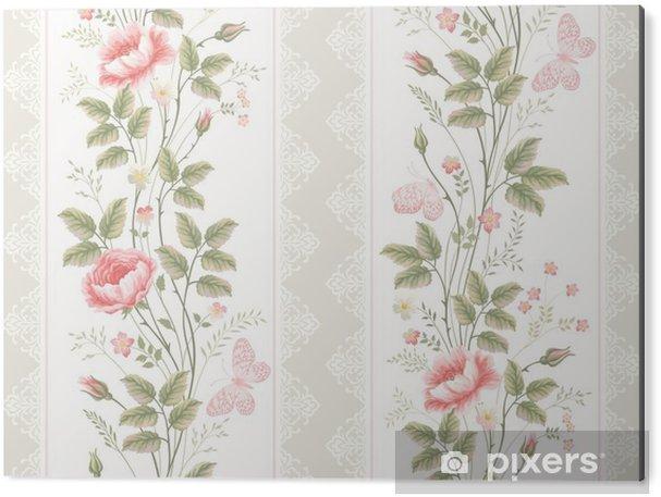 Tableau Alu-Dibond Seamless bordures florales dentelle et papillons - Plantes et fleurs