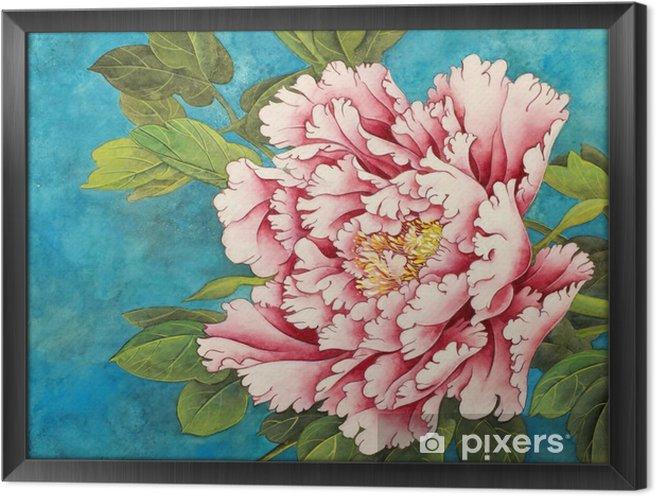 Tableau en cadre Pivoine rose sur un fond bleu - Plantes et fleurs