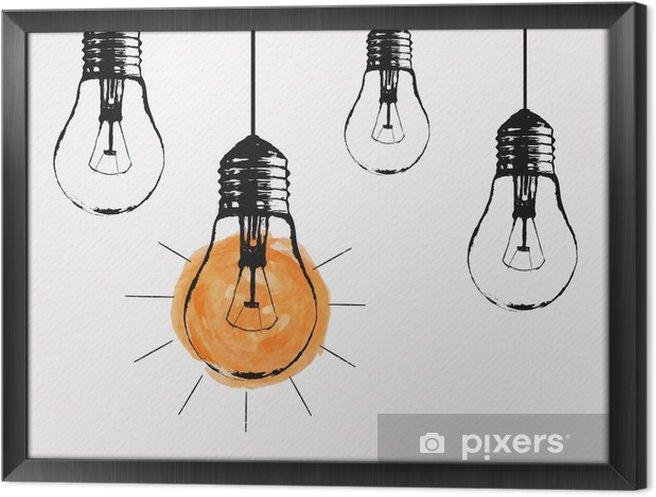 Tableau en cadre Vector grunge illustration avec la pendaison ampoules et place pour le texte. Moderne style de croquis hipster. idée unique et le concept de la pensée créative. - Émotions et sentiments