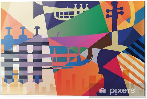 Tableau en verre Affiche de jazz abstrait, musique de fond - Ressources graphiques