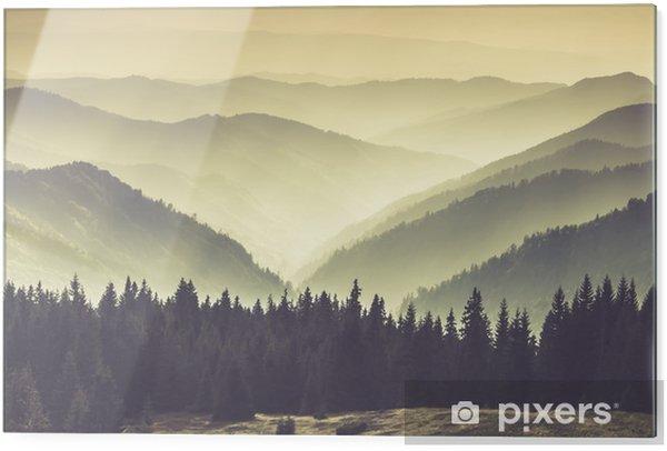 Tableau en verre Collines de montagne brumeuses - Paysages