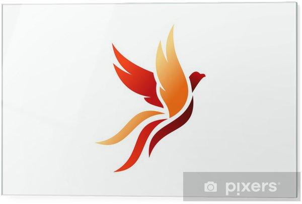 Tableau en verre Oiseau, logo, phoenix, voler, faucon, aigle, ailes, icône,  symbole