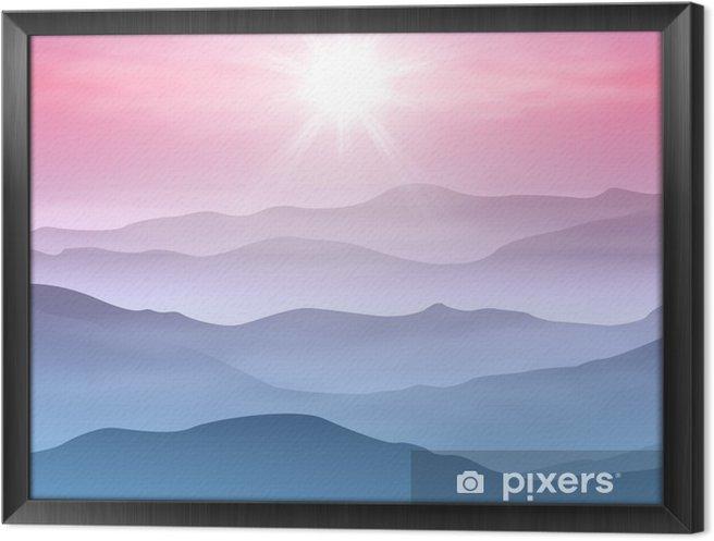 Tableau encadré Arrière-plan avec le soleil et les montagnes dans le brouillard - Montagne