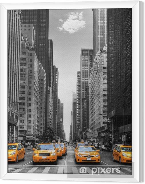 Tableau encadré Avenue des taxis with à New York. -