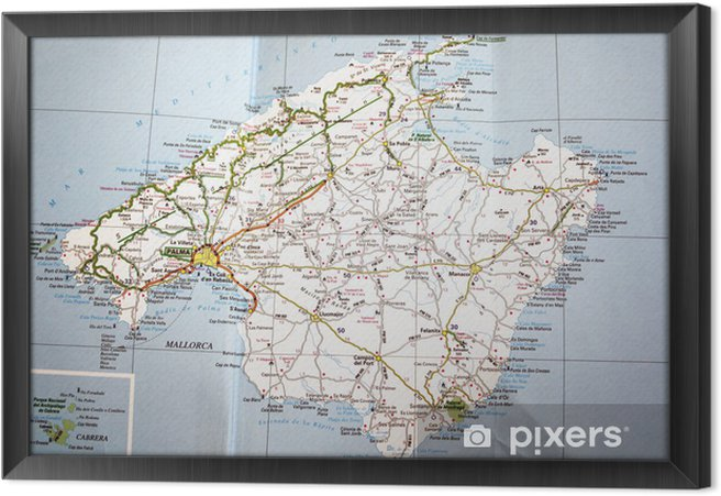 Tableau encadré Carte de Majorque - Thèmes
