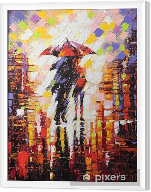Tableau encadré Deux amoureux sous un parapluie -