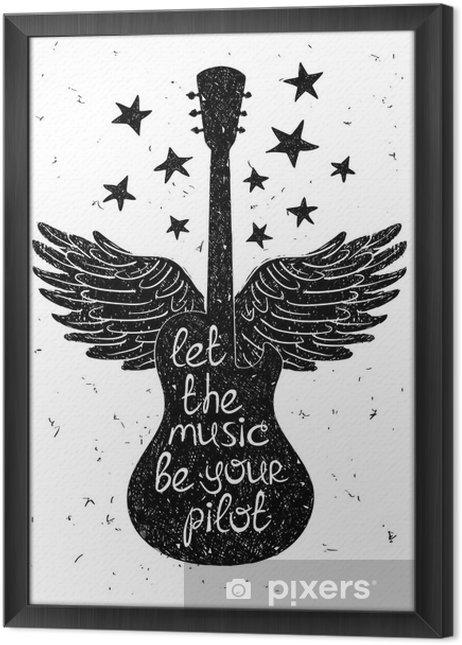 Tableau encadré Hand drawn illustration musicale avec des silhouettes de guitare. - Passe-temps et loisirs