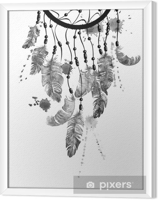 Tableau encadré Illustration d'aquarelle avec dreamcatcher - Ressources graphiques